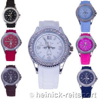 Hv Polo Uhr Stone In 7 Trendigen Farben Armbanduhr Mit Strass Steinen Bild
