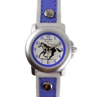 Kinderuhr Weiss Blau Pferd Lederarmband Nylon Armbanduhr Citizen Miyot Werk Weiß Bild