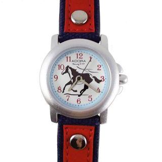 Kinderuhr Blau Rot Pferd Lederarmband Nylon Armbanduhr Citizen Miyota Werk Bild