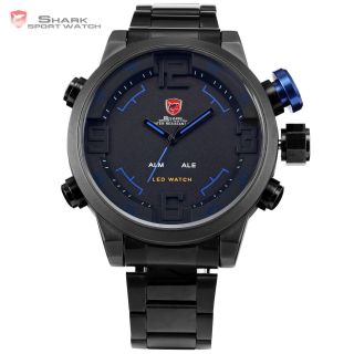 V Shark 3d Herrenuhr Digital Analog Quarzuhr Metall Armbanduhr Schwarz Blau Bild