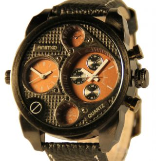 Stilvolle Xxl Leder Armbanduhr Double Time Herrenuhr Animoo Bild
