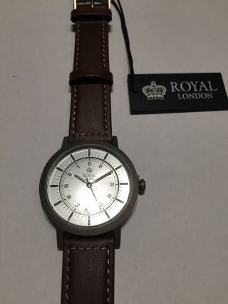 Herrenuhr Royal London Titan Flach 50 Meter Wasserdicht Lederband Bild