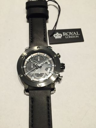 Herrenuhr Royal London Stoppuhr 100 Meter Wasserdicht Lederband Bild