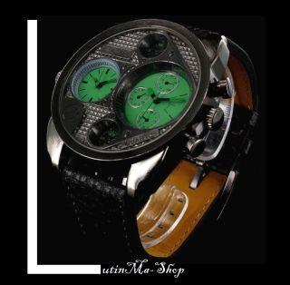 Jay Baxter Herren Uhr Echt Leder Armband Designer Mega Xxl Dualtimer Grün Bild