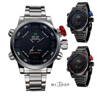 Top Stylische Led Herrenuhr Sportuhr Matt Schwarz Silber Sport Armbanduhr Bild