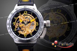 Fafada Xxxl Herren Automatikuhren Skelett Mechanisch Armbanduhr Uhr Uhren Golden Bild
