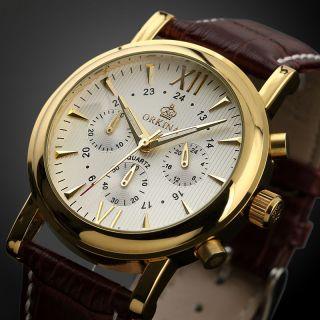 Klassische Herren Mode Männer Quartz Armbanduhr,  Braunes Lederarmband Bild