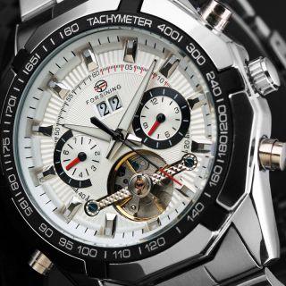 Herren Edelstahl Schwarz Weiß Silber Mode Skelett Armbanduhr Mechanisch Bild