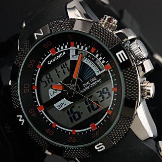 Herren Sport Digital Analog Alarm Gummi Quartz Herren Mode Armbanduhr Bild