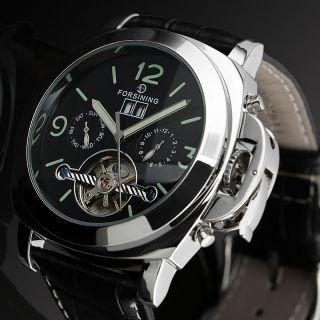 Herren Armbanduhr Schwarz Leder Armband Tourbillon Datum Automatisch Mechanisch Bild