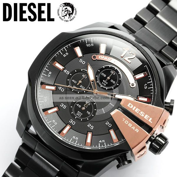 diesel 53mm xl chronograph herrenuhr mega chief schwarz. Black Bedroom Furniture Sets. Home Design Ideas