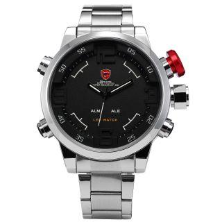 Shark 3d Sportuhr Herren Analog & Digital Led Alarm Quarz Edelstahl Armband Uhr Bild
