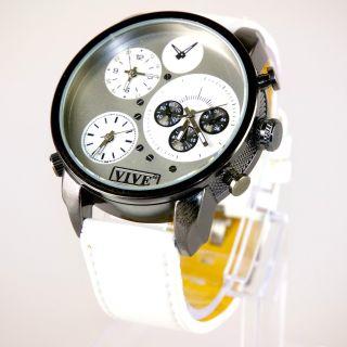Herren Vive Xxl Armbanduhr Lederband Silber Weiß Watch Uhr 3 Uhrwerke Quarz Bild