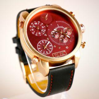 Herren Vive Xxl Armbanduhr Lederband Kupfer Bordeaux Watch Uhr 3 Uhrwerke Bild