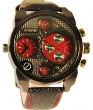 Animoo Dual Timer Xxl Designer Armbanduhr Leder Herrenuhr Bild