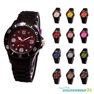 Sv24 Silikon Armbanduhr Damen Herren Uhr Bunte Quarz Uhren Schwarz Farbwahl Bild