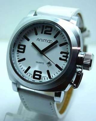 White Animoo Force Xxl Leder U Boot Herren Uhr Stainles Steel Bild