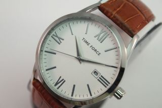 Time Force Herren Armbanduhr Braun Tf4079m05 Uvp 79€ All Edelstahl Lederband Bild