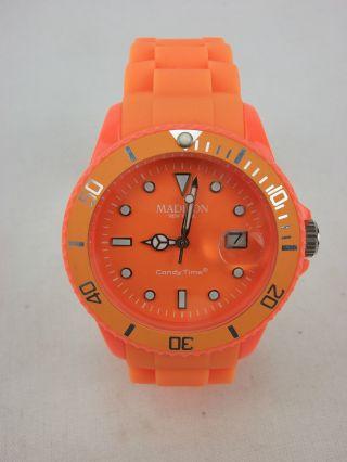 Madison Silikon Armbanduhr Neuwertig Orange Bild