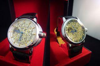 Top Stylische Herrenuhr Automatik Leder Armbanduhr Schwarz Weiß Skelettuhr Bild