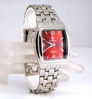 Tv Förmigen Retro Designer Silber überzogenes Rotes Kleid Mens Herren - Armbanduhr Bild