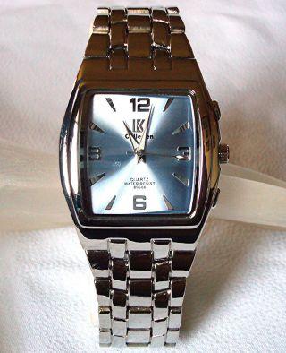 Förmigen Designer Silber Rhodium überzogene Herren Herren Blue Dress Armbanduhr Bild