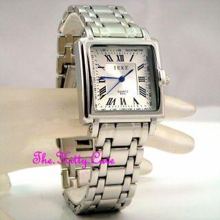 Retro Quadratische Designer - Stil Silber Rhodium Plated Herren Kleiden Armbanduhr Bild