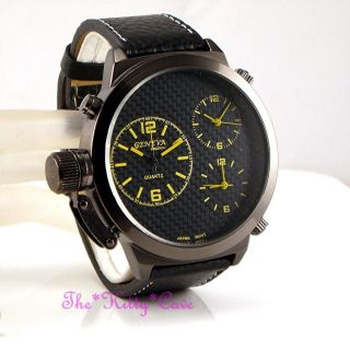 Armbanduhr Gelb Militär Marineblau Offizier Schwarz Leder 3 Zeitzonen Ziffernbl Bild