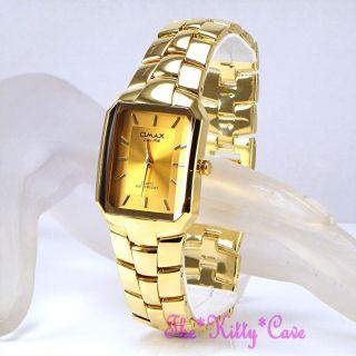 Armbanduhr Omax Klassiker Quadrat Gold Schweizer Epson Seiko Herren Hsk061 Bild