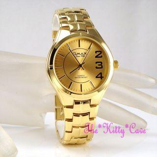 Armbanduhr Herren Männer Omax Retro Designer Edelstahl Gold Slim Epson Hbj823 Bild