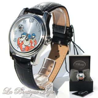 Disney Motiv Armbanduhr Die Panzerknacker,  Automatik,  Edelstahl,  Leder, Bild