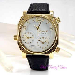 Omax Schwarz / Gold Seiko Movt Herren Welt Multi Zone Triple Zeit Watch T006g32a Bild