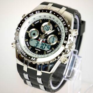 Herren Vive Armband Uhr Hartplastik Schwarz Watch Analog Digital Quarz 2 Bild