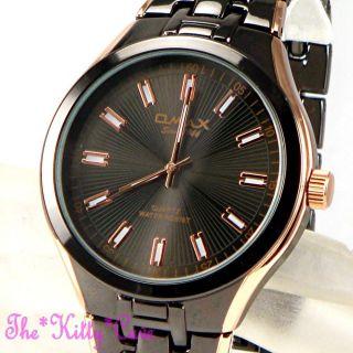 Omax Retro Gunmetal Bronze Braun & Rose Gold Platte Seiko Movt Kleid Watch Bild