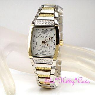 Omax Seiko Movt - Wasserdicht S.  Steel Silber Rhodium & Gold Plt Sportliche Uhr Bild