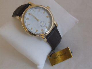 Gold Ton Italienische Leder Band Herren Quarz Watch Braun Bild
