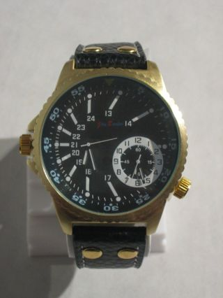 Jay Baxter - Xxl Herren Uhr Dualtimer Armbanduhr Echt Lederarmband - A2146 Bild