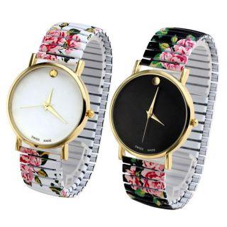 Modisch Basel Stil Analog Flexband Zugarmband Quartzuhr Armbanduhr Blume Bild