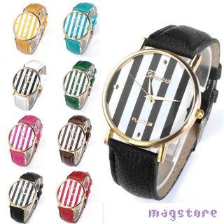 Fashion Damen/herren Armbanduhr Streifen Armband Uhr Quartz Watch Quarzuhr Quarz Bild