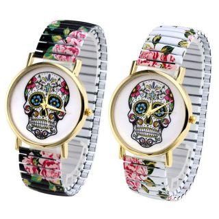 Damen Schädel Blume Flexband Zugarmband Quartzuhr Armbanduhr Totenkopf Ggeschenk Bild