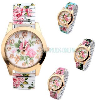 Basel Stil Analog Flexband Zugarmband Quartzuhr Armbanduhr Blume Zahl Bild