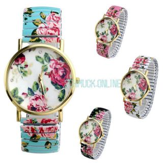 Basel Stil Analog Flexband Zugarmband Quartzuhr Armbanduhr Blume Schön Bild