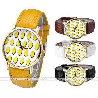 Jy Lässig Pu Leder Uhrarmband Zitrone Pattern Quarzuhr Golden Gehöuse Armbanduhr Bild