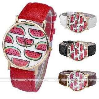 Jy Lässig Pu Leder Uhrarmband Wassermelone Quarzuhr Gold Gehöuse Armbanduhr Bild