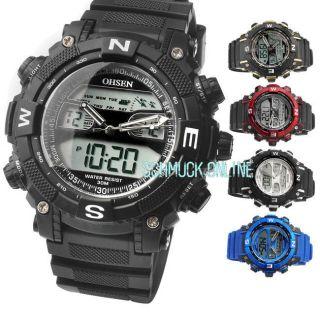 Ohsen Dual Led Digital Herrenuhr Sport Quarzuhr Armbanduhr Silikon Uhr Top Watch Bild