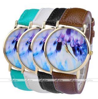 Jy Lässig Pu Leder Uhrarmband Magische Muster Quarzuhr Gold Gehöuse Armbanduhr Bild