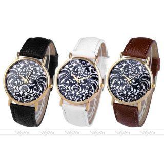 Jy Lässig Pu Leder Uhrarmband Hahn Scherenschnitt Muster Quarzuhr Armbanduhr Bild
