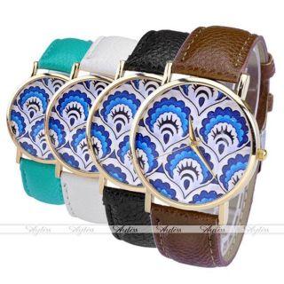 Jy Lässig Pu Leder Uhrarmband Pfau Muster Quarzuhr Golden Gehäuse Armbanduhr Bild