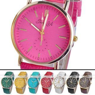 Jy1593 Lässig Pu Leder Uhrarmband Bonbon Farbe Gold Gehäuse Quarzuhr Armbanduhr Bild