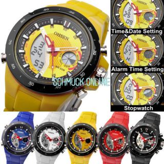 Ohsen Dual Led Digital Herrenuhr Herren Sport Quarzuhr Armbanduhr Silikon Uhr Bild